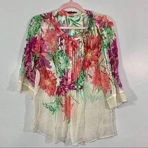 Elie Tahari | Stunning Silk Floral Sheer Blouse